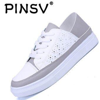 PINSV แฟชั่นสตรีรองเท้าลำลองรองเท้าสเก็ตบอร์ดรองเท้าผ้าใบ (ขาว)