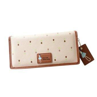 หญิงสาวดอกไม้แบบหนังเทียมกระเป๋าถือกระเป๋าสตางค์กระเป๋าถือบัตรคลัตช์แอปริคอท-ระหว่างประเทศ