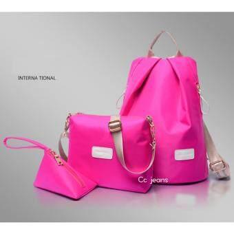 Cc jeans กระเป๋าเป้ กระเป๋าสะพายข้างสีดำ กระเป๋าเซ็ท 3 ใบ No.111(Pink)