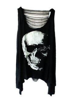 Sanwood เสื้อยืดเสื้อกล้ามเสื้อประดับหัวกะโหลกย้อนกลับ (สีดำ)