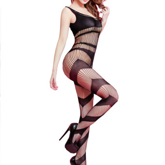 Harga Yinglite Women Sexy Fishnet Open Crotch Open Cup Bodystocking Lingerie Suspender Sleeve Pantyhose Tights Exotic Hosiery Black-062 - Intl