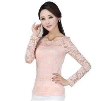 Harga New Women Fashion Lace Crochet Blouse Long-sleeved Lace Tops Plus Size M-5XL Pink (Intl)