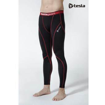 Tesla กางเกงเบสเลเยอร์รัดกล้ามเนื้อ ขายาว ดำ-ขลิบแดง