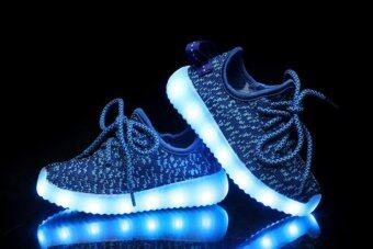 I101 กีฬากลางแจ้งของชายหญิงรองเท้าผ้าใบขึ้นไฟ led ธรรมดากีฬารองเท้าผ้าใบถักสีน้ำเงินรองเท้า