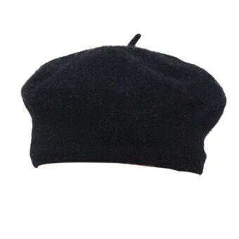 ฤดูหนาวอบอุ่นแข็งแรงสวมหมวกผ้าขนสัตว์สตรีฝรั่งเศสใส่หมวกบีนนี่ฝีมือสีดำ-ระหว่างประเทศ