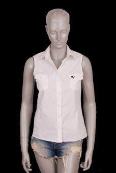 Augustrio เสื้อเชิ๊ตแขนกุดผู้หญิง (สีขาว)