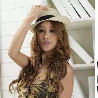 Fedora หมวกปานามาสีครีม หมวกแฟชั่น มีสายสีดำคาดที่ตัวหมวก 1 ชิ้น