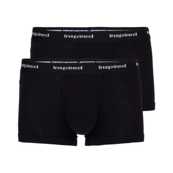 F&F กางเกงในชาย ขาสั้นรัดรูปขอบโชว์ยาง สีดำ แพ็ค 2 ตัว