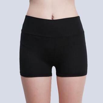 กางเกงลำลองผ้าแถบหญ้าคาพวกกีฬาออกกำลังกายโยคะวิ่งขาสั้น (สีดำ)