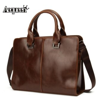 Harga AEQUEEN Fashion Men's Business Bag Briefcase Messenger Shoulder Bags Tote Bag Coffee - intl