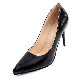 D90 รองเท้าส้นสูงผู้หญิงเซ็กซี่ร้อนความกว้างรองเท้าผู้หญิงสีดำ