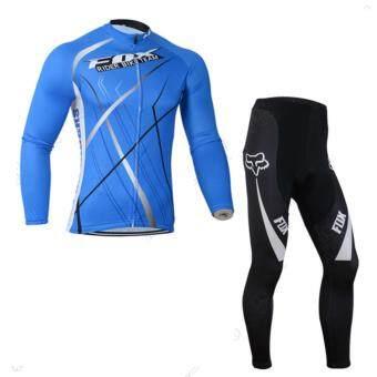 Cbike ชุดปั่นจักรยาน แขนยาวขายาว FOX สีน้ำเงิน ชุดโปรทีมจักรยาน ชุดขี่จักรยาน