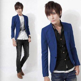 ขายเสื้อแจ็คเก็ตเสื้อสบาย ๆสไตล์ผู้ชายผอมพอดีกับหนึ่งปุ่มสูทสีน้ำเงินเข้ม - intl