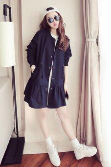 Cool Fashion เสื้อคลุม แขนยาว ผู้หญิงสไตล์เกาหลี สีดำ women's- Black. CF-LT0001FF1159-(Free size)