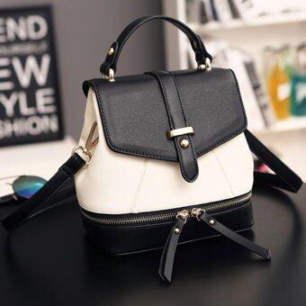 Little Bag กระเป๋าเป้สะพายหลัง กระเป๋าเป้เกาหลี กระเป๋าสะพายหลังผู้หญิง backpack women รุ่น LP-060 (สีดำ/ขาว)