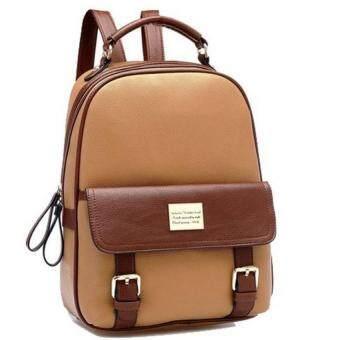Premium Bag กระเป๋าเป้สะพายหลัง กระเป๋าเป้เกาหลี รุ่น PB019(สีกากี)