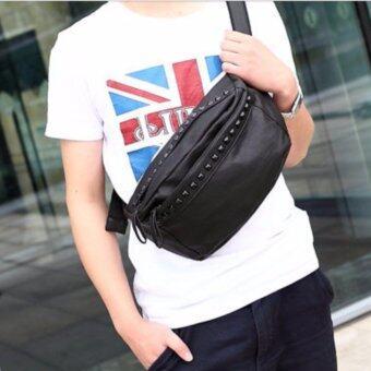 Osaka กระเป๋าหนัง PU สะพายไหล่ผู้ชาย คาดเอว รุ่น NG337 - สีดำ
