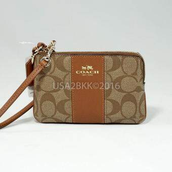 Harga COACH SIGNATURE PVC LEATHER CORNER ZIP WRISTLET KHAKI F54629