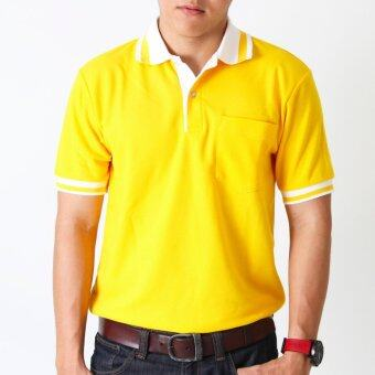 POLOMAKER เสื้อโปโล KanekoTK PK089 สีเหลืองปกขาว (Male)