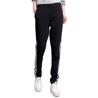 กางเกงแฟชั่นเกาหลีผู้หญิงเล่นกีฬา HPT013 สีดำ