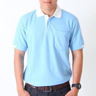 POLOMAKER เสื้อโปโล KanekoTK PK022 สีฟ้าอ่อนปกขาว (Male)
