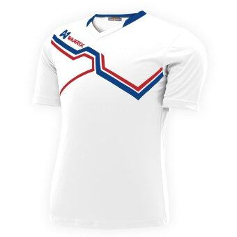 WARRIX SPORT เสื้อฟุตบอลพิมพ์ลาย WA-1516 สีขาว-น้ำเงิน
