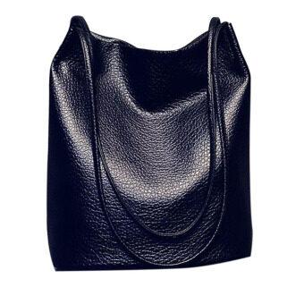 แฟชั่นผู้หญิงร่างกายใหญ่ข้ามความจุหนัง Pu ซื้อกระเป๋า (สีดำ)
