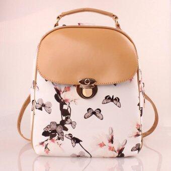 Little Bag กระเป๋าสะพายหลัง กระเป๋าเป้ กระเป๋าแฟชั่นผู้หญิง ลายดอกไม้ รุ่น LP-045 (สีขาว)