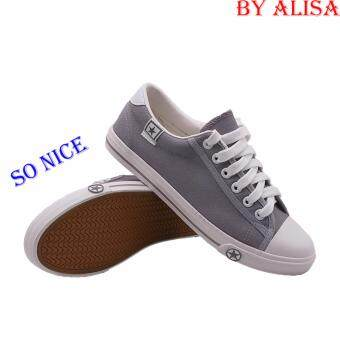 Alisa Shoes รองเท้าผ้าใบแฟชั่น รุ่น b666 Grey