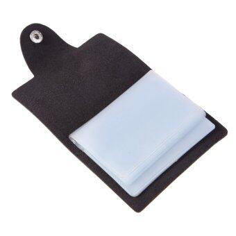 24 แต้มบัตรเครดิตเจ้าของตำแหน่งหนังเทียมกระเป๋านามบัตรซองนามบัตร (สีดำ)