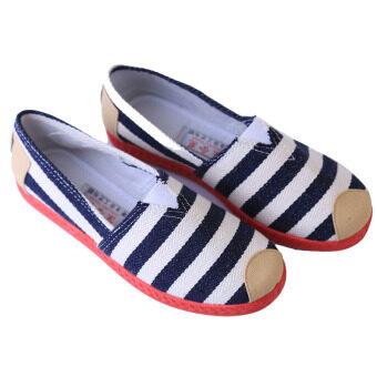 แฟชั่นรองเท้าผ้าใบลายพิมพ์หญ้าคารองเท้าผ้าใบลำลองสีน้ำเงิน-