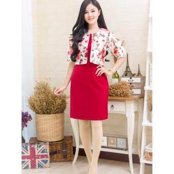 Pitchaya ชุดเดรสตัวเสื้อเย็บแบบกั๊กผ้าไหมเนื้อเงาสวยหรูลายดอกไม้แขนศอก  de550(สีแดง)