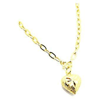 Tfine สร้อยคอลายโซ่ฝรั่งชุบทองแท้ห้อยจี้หัวใจตัดลายยาว18นิ้ว รุ่น NP134 - Gold