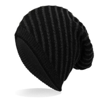 แฟชั่นคุณภาพสูง beanies skullies หมวกฤดูหนาวสำหรับสตรีหมวกไหมพรมอุ่นไอผู้ชายสีดำ