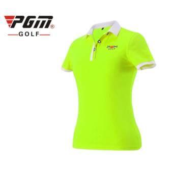 EXCEED GOLF LADY SHIRT GREEN COLOUR เสื้อกอล์ฟสุภาพสตรีแขนสั้น PGM สีเขียวสะท้อนแสง (YF038)