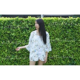 เสื้อคลุมสตรี ลายดอกไม้ สีขาว