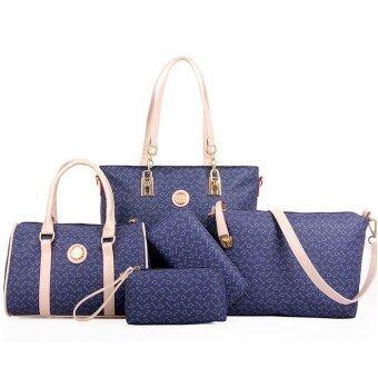RichCoco กระเป๋าแฟชั่นเกาหลี + กระเป๋าสตางค์ผู้หญิง + กระเป๋าสะพายข้าง + กระเป๋าถือ + กระเป๋าสะพาย เซ็ต 6 ใบ ( (สีน้ำเงิน)
