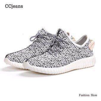 Ccjeans รองเท้า รองเท้าผ้าใบใส่ได้ทั้งผู้หญิงผู้ชาย รุ่น A005 - White Black