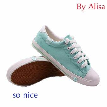 Alisa Shoes รองเท้าผ้าใบสปอร์ต รุ่น B666 (Light Blue)