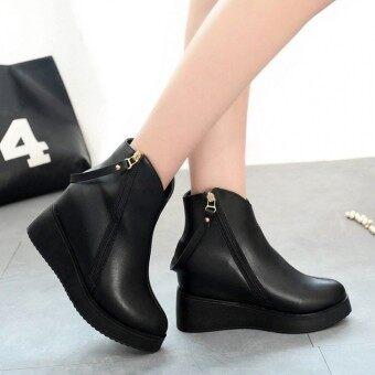 2559 ผู้หญิงสวมรองเท้าบู๊ตฤดูหนาวหนังเท้างัดฟอร์มรูดซิปซ่อนรองเท้ารองเท้าส้นเท้า