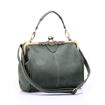 Harga Vintage bags PU leather tote bag women messenger bags Army green - Intl