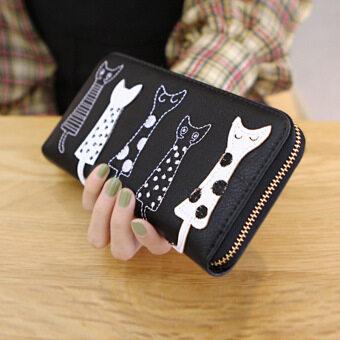 ลาวีแมวการ์ตูนสร้างสรรค์กระเป๋าสตางค์ที่เก็บบัตรประชาชนแบบธรรมดาสตรีไปรษณีย์คลัตช์ (สีดำ) (image 3)