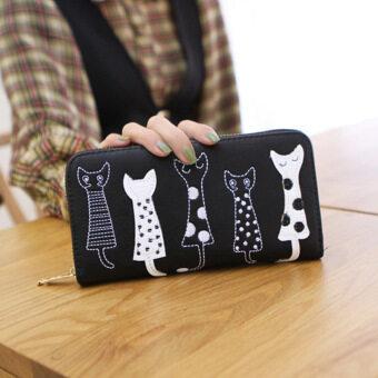 ลาวีแมวการ์ตูนสร้างสรรค์กระเป๋าสตางค์ที่เก็บบัตรประชาชนแบบธรรมดาสตรีไปรษณีย์คลัตช์ (สีดำ)