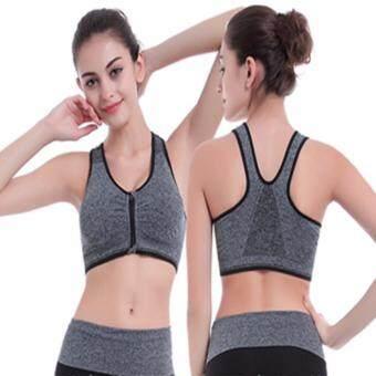 ชุดชั้นในออกกำลังกาย แบบซิปหน้า เซ็ต 2 ตัว สีเทา/สีดำ ไซส์ S-L # Zipbraset