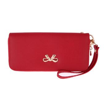 แฟชั่นผู้หญิงกระเป๋าสตางค์หนังยาวที่เก็บบัตรเงินคลัตช์ (สีแดง)