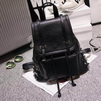 Peimm Modello Fashions Korea กระเป๋าเป้สะพายหลัง แต่งหมุดสีเงินรมดำ สไตส์เกาหลี