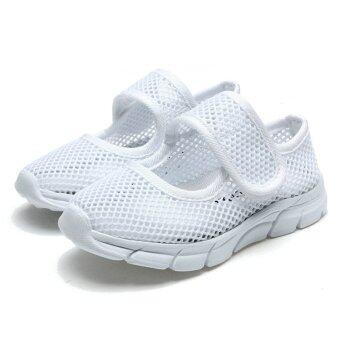 เด็กสาวหายใจสบาย ๆ รองเท้าแตะแบนตาข่ายชายหาดรองเท้าหุ้มส้นรองเท้าผ้าใบ