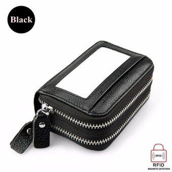 Harga Double-layer PU leather Women wallet organ card bag Handbags High capacity RFID anti-magnetic card package with Zipper black - intl