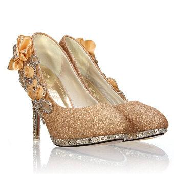 หญิงสาวสุดเซ็กซี่ฉลองวิวาห์รองเท้าส้นสูงรองเท้าคริสตัลโกลเด้น-ระหว่างประเทศ