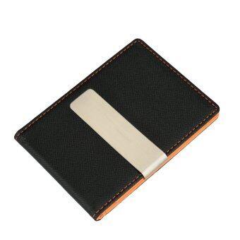 นิวแฟชั่นหนังเทียมบางคนหนีบกระเป๋าสตางค์บัตรเครดิตบัตรเงินสดเจ้าของคลิป